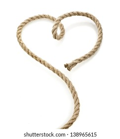 Jute rope with shape heart isolated on white background