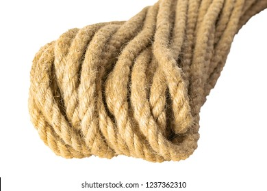 Jute rope skein isolate on a white background