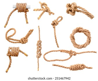 Jute Ropes with Reef Knot isolated on white background