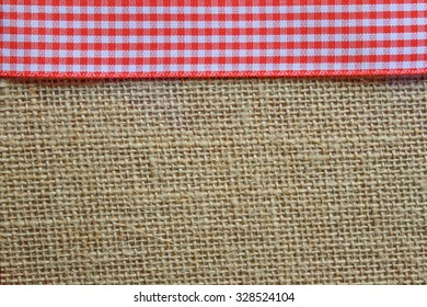Jute Texture with red gingham trim