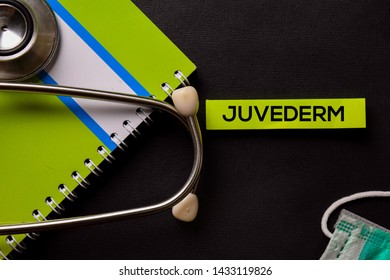 Juvederm on top view black table and Healthcare/medical concept.