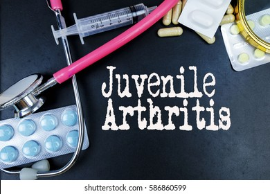 Juvenile Arthritis word, medical term word with medical concepts in blackboard and medical equipment background.