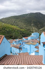 Juzcar, Andalusia/ Spain. April 22, 2017. Spanish village painted blue. A publicity stunt to promote a new smurf movie,