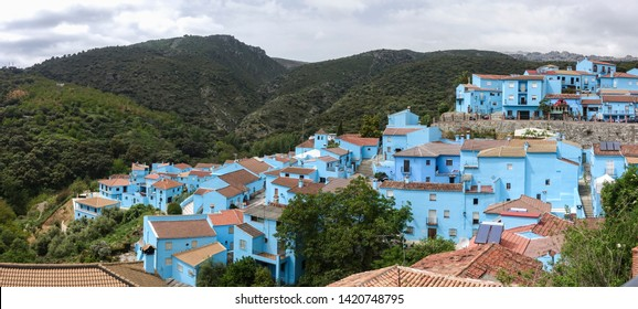 Juzcar, Andalusia/ Spain. April 22, 2017. An entire Spanish village is painted blue. A publicity stunt to promote a new smurf movie,