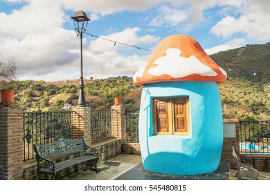 Juzcar, blue Andalusian village, Andalusia, Spain. The Smurf village