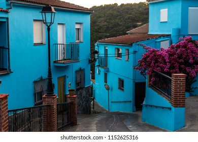 Juzcar, SPAIN - Aug, 2017: Juzcar is a small blue village inspired by the Smurfs.