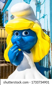 JUZCAR, SPAIN - SEPTEMBER 07: View of Juzcar on September 07, 2014 in Juzcar, Malaga, Spain. Buildings were painted smurf-blue by Sony Pictures to celebrate the premiere of the Smurfs movie.