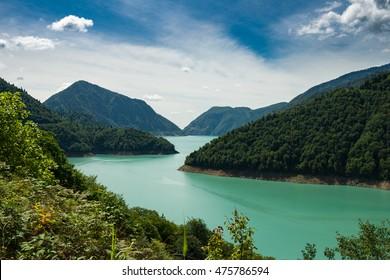 Jvari Enguri (Dzhvara Ingury) Reservoir, Samegrelo-Upper Svaneti, Georgia