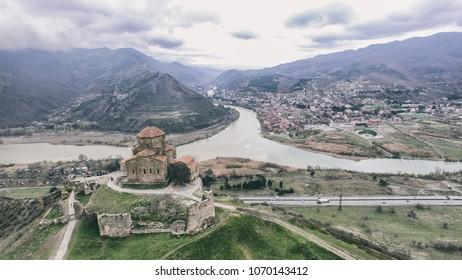 Jvari Monastery - View from Jvari Monasteri svetitskhoveli and old city mtskheta