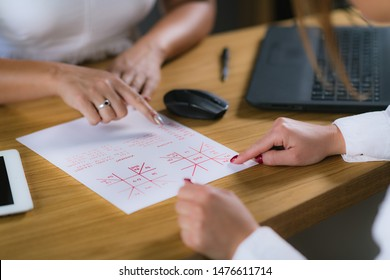Jyotish Consultation. Female Vedic Astrologist, Jyotisha, working with Client.