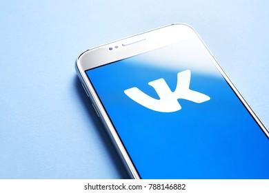JYVASKYLA, FINLAND - JANUARY 4, 2018: VK logo on smartphone screen. Vkontakte is a Russian social media and  networking website. Illustrative editorial.