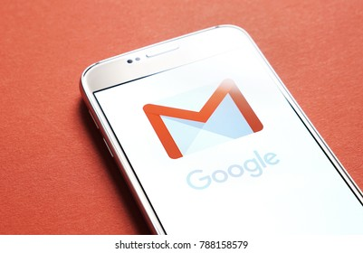 JYVASKYLA, FINLAND - JANUARY 4, 2018: Gmail logo on smartphone screen. Gmail is a free email service by Google. Illustrative editorial.