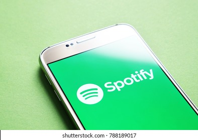 JYVASKYLA, FINLAND - JANUARY 4, 2018: Spotify logo on smartphone screen. Spotify is an online music streaming service and app. Illustrative editorial.