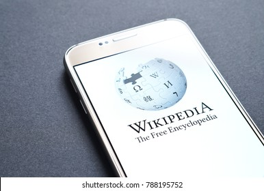 JYVASKYLA, FINLAND - JANUARY 4, 2018: Wikipedia logo on smartphone screen. Wikipedia is an online encyclopedia. Illustrative editorial.