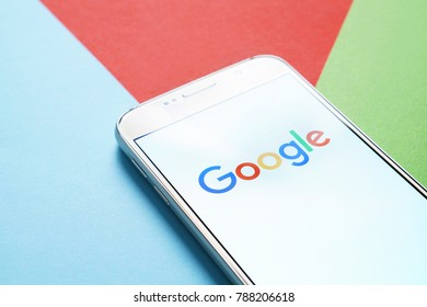 JYVASKYLA, FINLAND - JANUARY 4, 2018: Google logo on smartphone screen. Google is an American technology and online services company. Illustrative editorial.