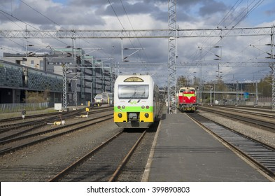 JYVASKYLA, FINLAND - MAY 10, 2014: Train on railway station Jyvaskyla