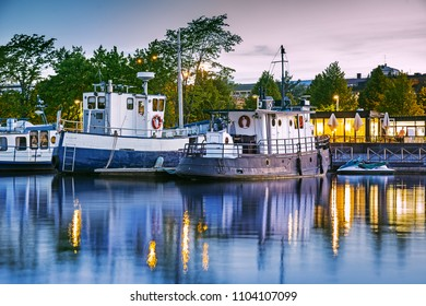 Jyvaskyla harbor at summer night, Finland