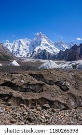K2 and Broad Peak from Concordia Camp in the Karakorum Mountains Pakistan. K2 Base Camp.