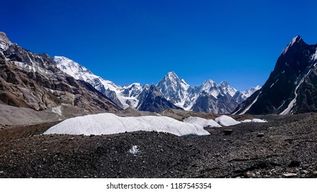 K2 and Broad Peak from Concordia Camp in the Karakorum Mountains Pakistan. K2 Base Camp.