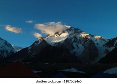K2 and Broad Peak from Concordia in the Karakorum Mountains Pakistan