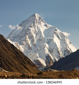 K2 in the Karakorum Mountains, Pakistan, in early morning light.
