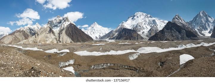 K2 and Karakorum Peaks Panorama at Concordia, Pakistan. K2, Broad Peak and Gasherbrum IV towering above Baltoro Glacier.