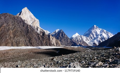 K2 Mont and Broadpeak mountain behind Baltoro glacier, K2 Base Camp, Pakistan.