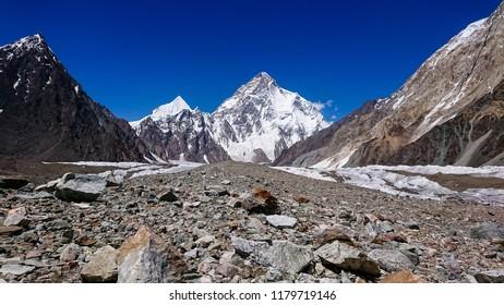 K2 Mont and Broadpeak mountain behind Baltoro glacier, K2 Base Camp, Pakistan.