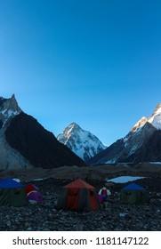 K2 mountain and Broad Peak from Concordia K2 Base Camp Trek in the Karakorum Mountains Pakistan.