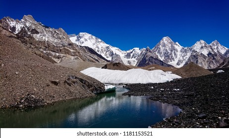K2 mountain and Broad Peak from Concordia K2 Base Camp Trek in the Karakorum Mountains Pakistan. Gasherbrum mountain massif and Mitre peak, Gilgit Baltistan, Pakistan