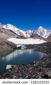 K2 mountain and Broad Peak from Concordia K2 Base Camp Trek in the Karakorum Mountains Pakistan. Gasherbrum mountain massif and Mitre peak, Gilgit Baltistan, Pakistan