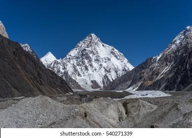 K2 mountain peak behind Baltoro glacier, Skardu, Gilgit, Pakistan, Asia