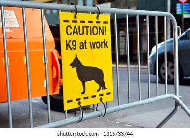 K9 police dog sign in New York City street