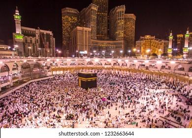 Kaabah Saudi ARABIA-April 2018: Muslim from all around the world walking around the Kaabah, Makkah Saudi ARABIA. makkah nigth background.