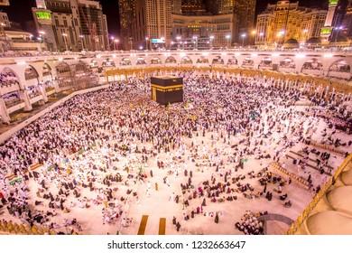 Kaabah Saudi ARABIA-April 2018: Muslim from all around the world walking around the Kaabah, Makkah Saudi ARABIA.