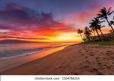 Kaanapali Beach on Maui at Sunset