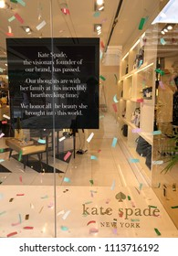 Kaanapali, HI - June 8, 2018: Kate Spade store window displays sign about the founder's death.