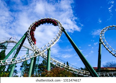 Kaatsheuvel, Brabant / Netherlands - October 10 2015: a rollercoaster with looping and train named 'Python' in amusement park 'Efteling'.
