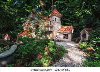Kaatsheuvel, Netherlands, August 19 , 2017: The sweet house of the fairy tale Hansel and Gretel in the fairytale forest in the theme park Efteling in the Netherlands