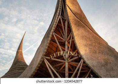 Kaatsheuvel, The Netherlands, October 16 2018: Entrance roof and name sign of Dutch theme park De Efteling