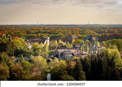Kaatsheuvel, The Netherlands - October 16 2018: Baron 1898 attraction in Dutch theme park De Efteling as seen from above