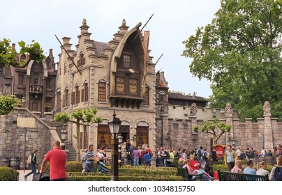 "Kaatsheuvel/Netherlands - May 26, 2016: ""The Flying Dutchman"" ride enterance looks like gothic castle in Efteling. Efteling the largest theme park in the Netherlands"
