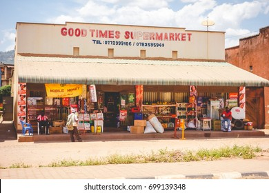 KABALE, UGANDA - CIRCA FEBRUARY 2017: A colorful storefront along the main street in Kabale.