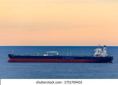 "Kabardinka, Krasnodar Krai, Russia - 23 May 2020: An oil tanker ""Minerva Zenobia"" is anchored near Novorossiysk"
