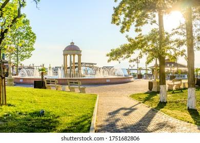 Kabardinka, Krasnodar Krai, Russia - May 19 2020: Fountain on the Central embankment in the village of Kabardinka