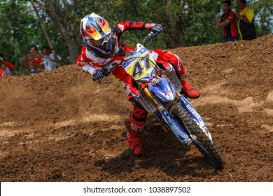 KABINBURI, PRACHINBURI - FEBRUARY 25 - Sornsiri Charoensuk  No.47 in FMSCT Thailand Supercross 2018 Round 1 on FEBRUARY 25, 2018 in Prachinburi THAILAND.