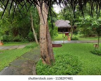 Kabini, Karnataka/India- July 20, 2018: View of a cottage in lush Green surroundings at the Evolve Back Kabini Lodge