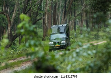 Kabini Wildlife Sanctuary,Karnataka, India - Aug 17:  Karnataka forest department safari  vehicle with tourist going through the forest  on Aug 07 -2018 in Kabini Wildlife Sanctuary, Karnataka, India