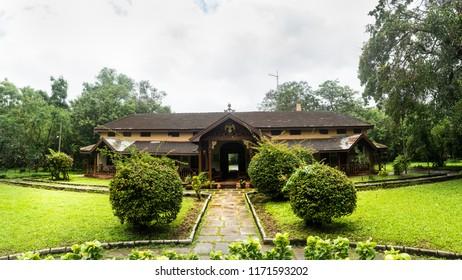 Kabini Wildlife Sanctuary,Karnataka, India - Aug 17:  Panoramic view of old antique building of  Kabini jungle lodge  on Aug 07 -2018 in Kabini Wildlife Sanctuary, Karnataka, India