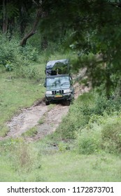 Kabini Wildlife Sanctuary,Karnataka, India - Aug 17:  Karnataka forest department safari  vehicle with tourist going through the forest on Aug 07 -2018 in Kabini Wildlife Sanctuary, Karnataka, India